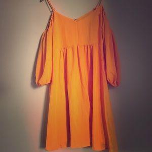 Mango open shoulder midi dress with sleeves